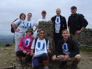 The top of Pen-y-Ghent: Victoria, Lisa, Tom, Geoff, James, Stacey, Punam and Dmitry